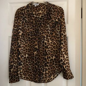 Express leopard print button down blouse